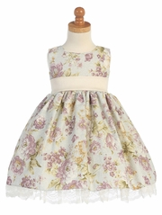 Ivory/Dusty Rose Cotton Floral Dress w/ Trim