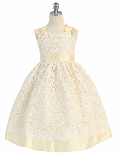 Cotton Lace Dress w/ Banana Polly Silk Shoulder Bows & Sash