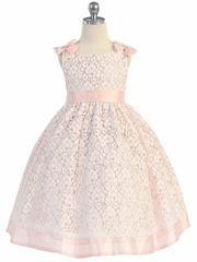 Cotton Lace Dress w/ Peach Poly Silk Shoulder Bows & Sash