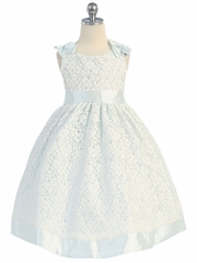 Cotton Lace Dress w/ Sky Blue Poly Silk Shoulder Bows & Sash