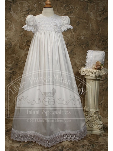 Cotton Sateen Gown W/Ribbon Rose