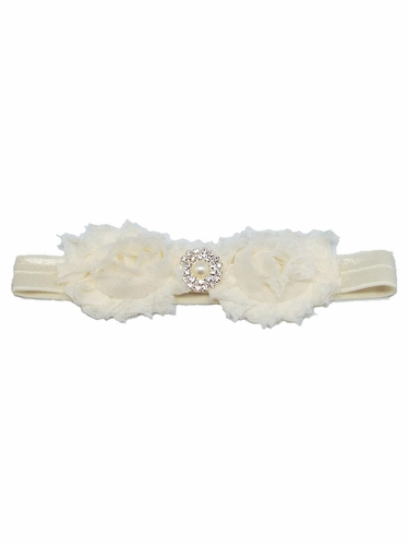 Cream Shabby Rose & Pearl Stone Headband