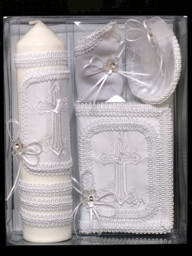 Cross Baptism Candle Gift Set