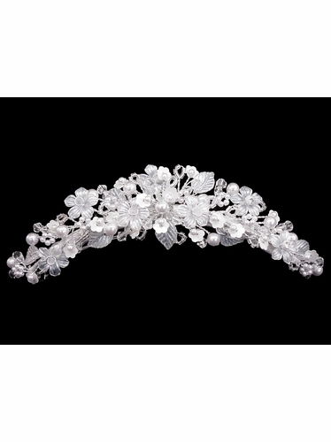 Crystal Beaded Flower Communion Headpiece Comb