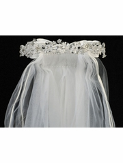 Crystal, Organza & Pearl Shaped Flowers w/ 24� White Communion Veil