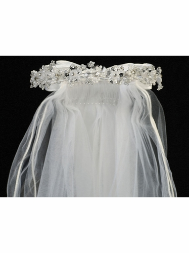 "Crystal, Organza & Pearl Shaped Flowers w/ 24"" White Communion Veil"