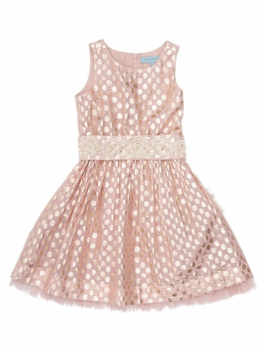 Cupcakes & Pastries Blush Brocade Dress w/ Hand Embroidered Belt & Tie Back