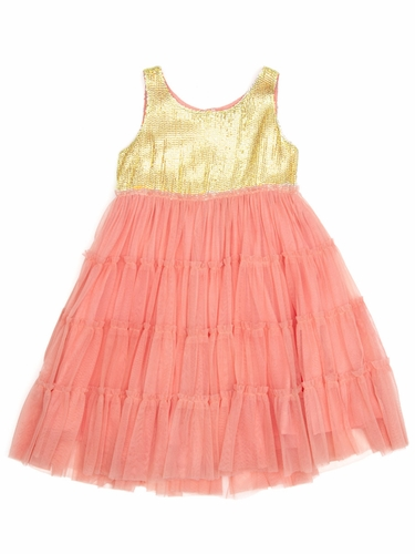 Cupcakes & Pastries Coral Tiered Tulle Dress w/ Gold Sequined Bodice