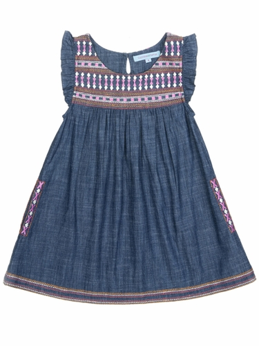 Cupcakes & Pastries Denim Flutter Sleeves & Embroidery Detail Dress