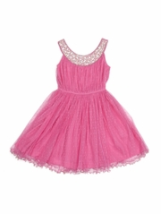 Cupcakes & Pastries Pink Beaded Neckline Dress w/ Hand Embroidered Necklace