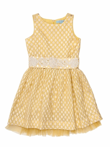 Cupcakes & Pastries Yellow Brocade Dress w/ Hand Embroidered Belt & Tie Back