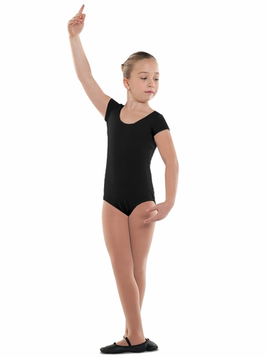 Danshūz Black Short Sleeve Cotton Leotard
