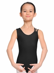 Danskin Girls NYCB Black One Sleeve Tank Leotard