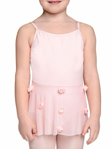 Danskin Girls Petal Pink Mesh Flower Leotard