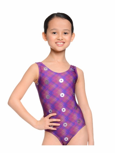 Danskin Gymnastics Purple Plum Spiral Print Leotard