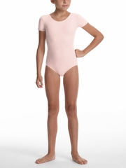 Danskin Team Essentials - Girls Theatrical Pink Short Sleeve Leotard