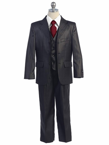 Dark Grey 5 PC Boys Pin Striped Suit