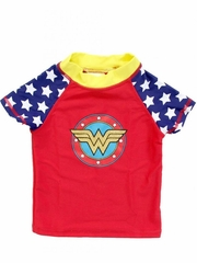 DC Comics Wonder Shield Girls Short Sleeve Rash Guard