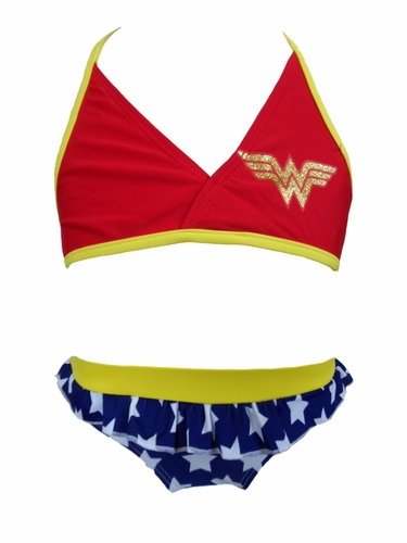 DC Comics WonderGirl Glitter Print Tank 2PC Swimsuit
