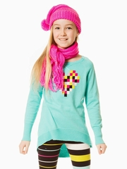 Deux Par Deux Aruba Blue Dear Deer Friend Knit Tunic