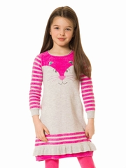 Deux Par Deux Gray & Pink Cat Knit Dress