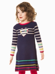Deux Par Deux Like A Bird Blue Ribbon Knit Dress