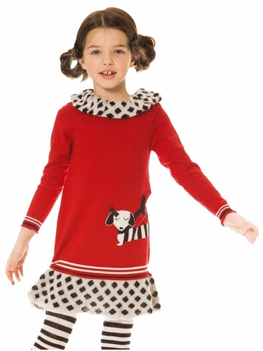Deux Par Deux Red Crimson Dog Story Knit Dress w/ Collar