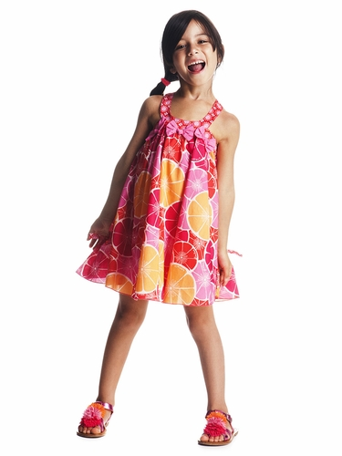Deux par Deux Scoop Neck Grapefruit Dress w/ Collar Bow Accents