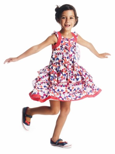 Deux par Deux Sleeveless Ruffle Peplum Dress w/ Colorful Dots