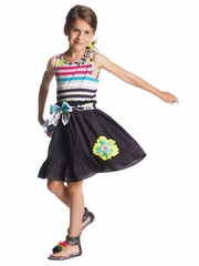 Deux par Deux Striped Bodice Dress w/ Navy Skirt & Colorful Sash