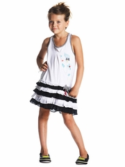 Deux par Deux White Tank Dress w/ Layered Ruffle Skirt & Black Accents