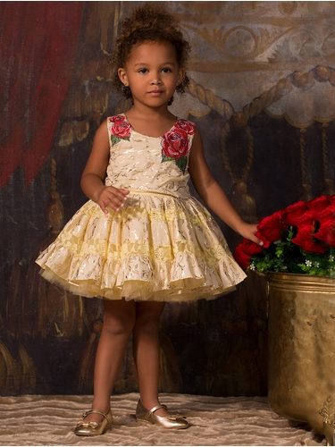 Disney Collection By Tutu Couture Beauty & The Beast Rose Poplin Petti Dress
