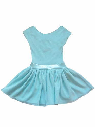 Dolls & Divas Aqua Sparkle Open Bow Back Mila Dress