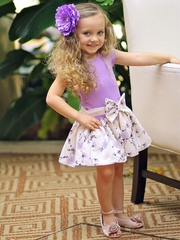 Dolls & Divas Couture Lavender & Floral Bow Skirt Dress