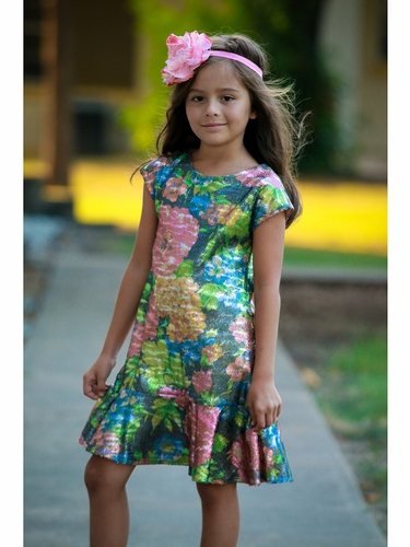 Dolls & Divas Floral Sequin Tyler Dress
