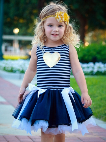 Dolls & Divas Striped Tutu w/ Gold Heart Lexi Dress