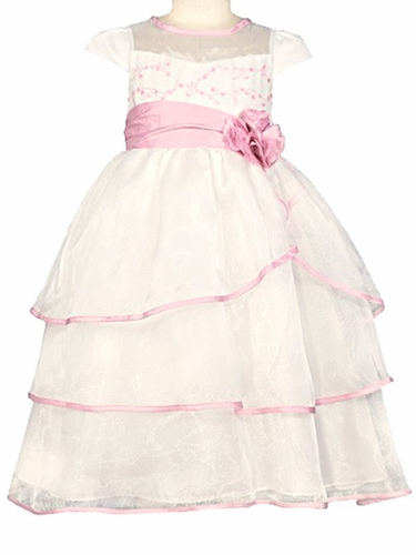 Donita Ivory / Pink Organza Tier Dress w/ Embroidery