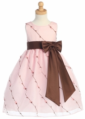 Dusty Pink/Brown Embroidered Organza Dress w/Taffeta Waistband