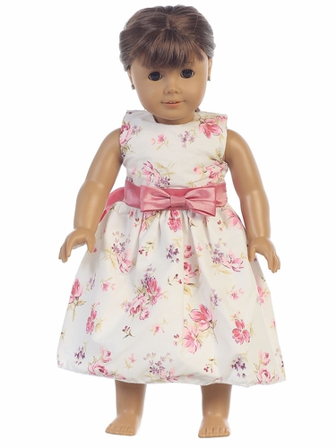 Cotton Floral Print w/ Dusty Rose Sash & Bow 18'' Doll Dress