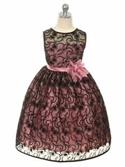 Dusty Rose Dress w/ Black Overlay Lace