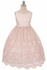 Dusty Rose Embroidered Floral Dress w/ Pearl Waistband & Scallop Hem