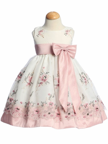 Dusty Rose Embroidered Organza Dress w/ Taffeta Waistband & Bow