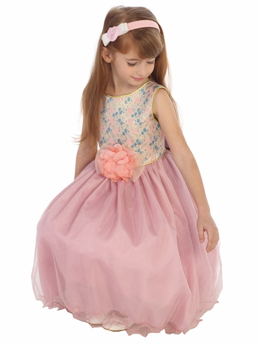 Dusty Rose Floral Jacquard Bodice w/ Tulle Dress