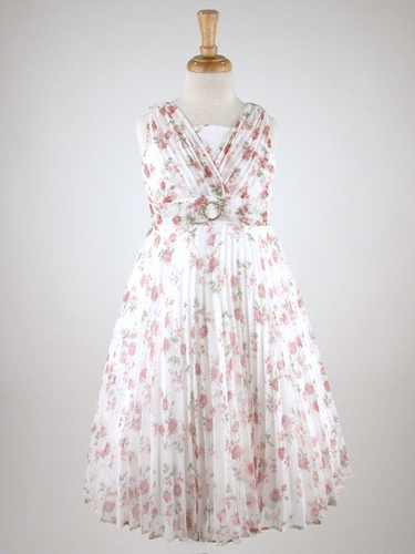 Dusty Rose Pleated Floral Dress
