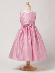Dusty Rose Satin Dress w/ Rhinestone Pin