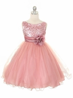 Dusty Rose Sequined Bodice w/ Double Layered Mesh Dress