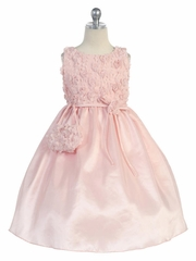 Dusty Rose Tulle Rosebud Bodice w/ Taffeta Skirt
