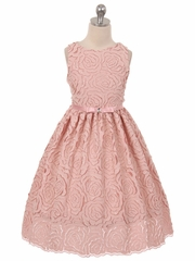 Dusty Rose Vintage Rosette Dress w/ Bow
