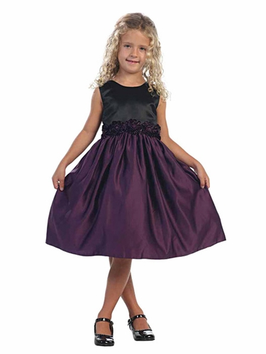 Eggplant Satin Dress w/ Black Bodice