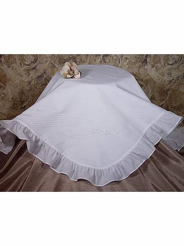 Embroidered Christening Blanket w/ Ruffles
